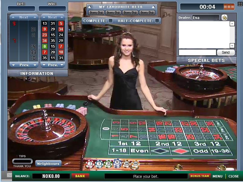 Example of live roulette at an online casino